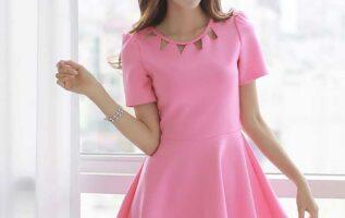 Model Mini Dress Simple Tipe Short Sleeves Konsep Pinky