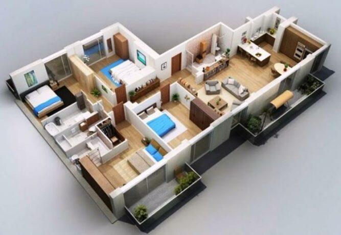 Desain Denah Rumah Sederhana 1 Lantai 4 Kamar Tidur Dan 3 Kamar Mandi Modern