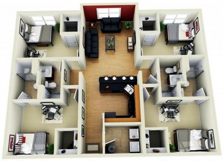 Desain Denah Rumah Sederhana 1 Lantai 4 Kamar Tidur Dan 4 Kamar Mandi